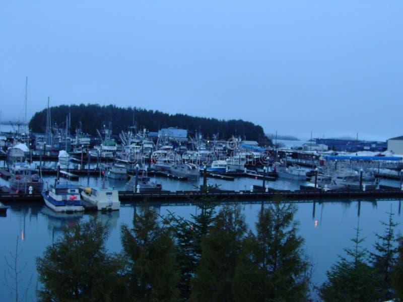 Cordova Alaska harbor. Cordova Boat harbor in December stock photos