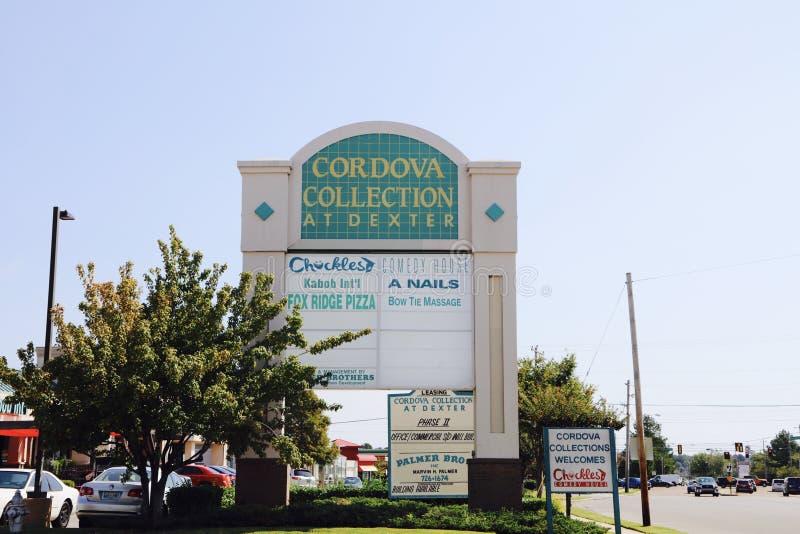 Cordova Collection Shopping Center, Cordova, TN. Cordova Collection Shopping Center Anchor Tenants are Hueys Restaurant & El Porton Mexican Restaurant stock image