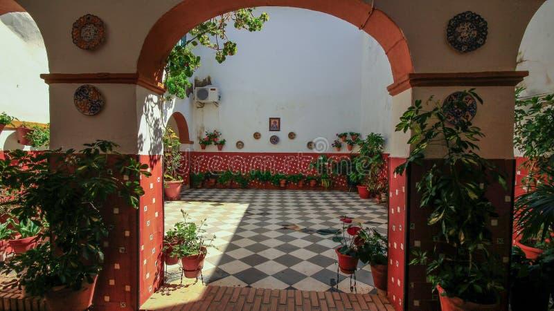 Cordova Cordoba old Building interior Spain Espana Andalusia. Andalucia Region. Garden royalty free stock image