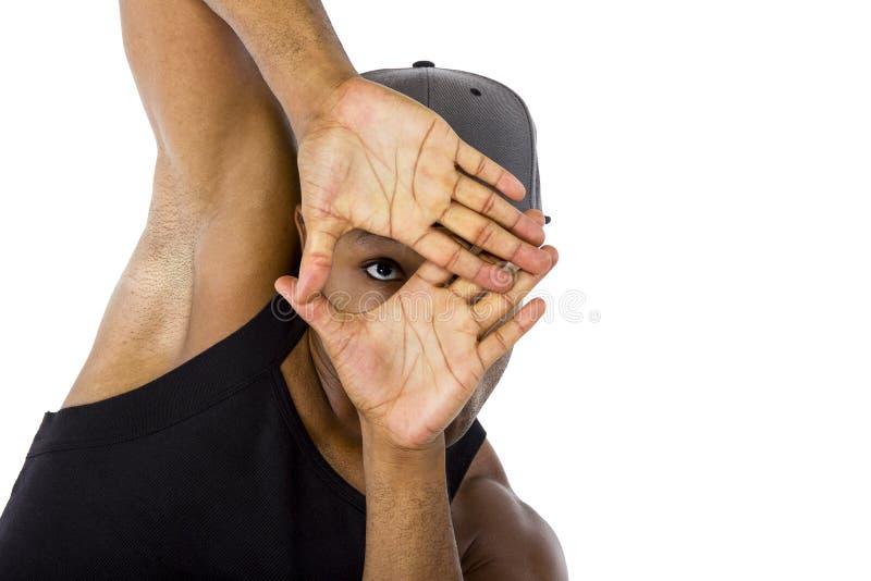 Coreógrafo Composing da dança com quadro da mão fotos de stock royalty free