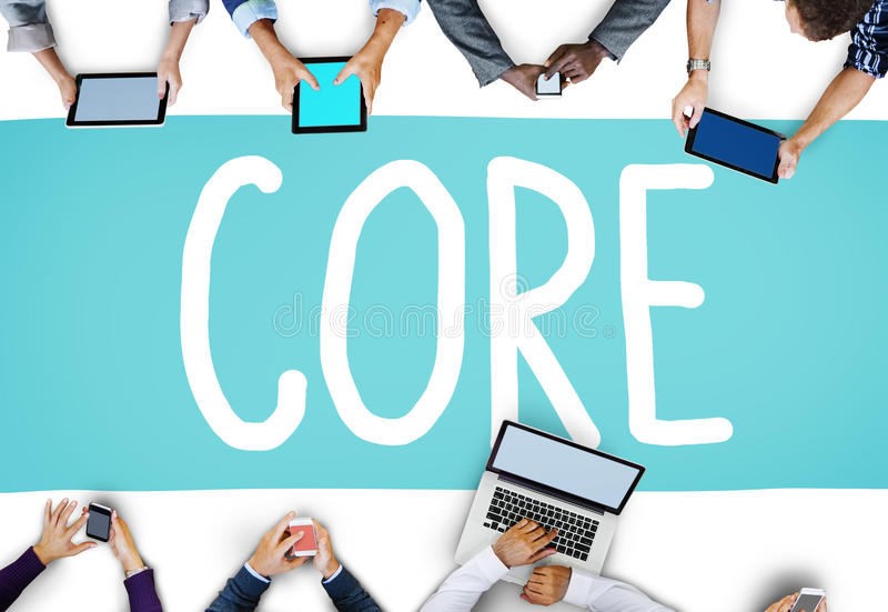 Core Core Values Focus Goals Ideology Main Purpose Concept.  royalty free illustration