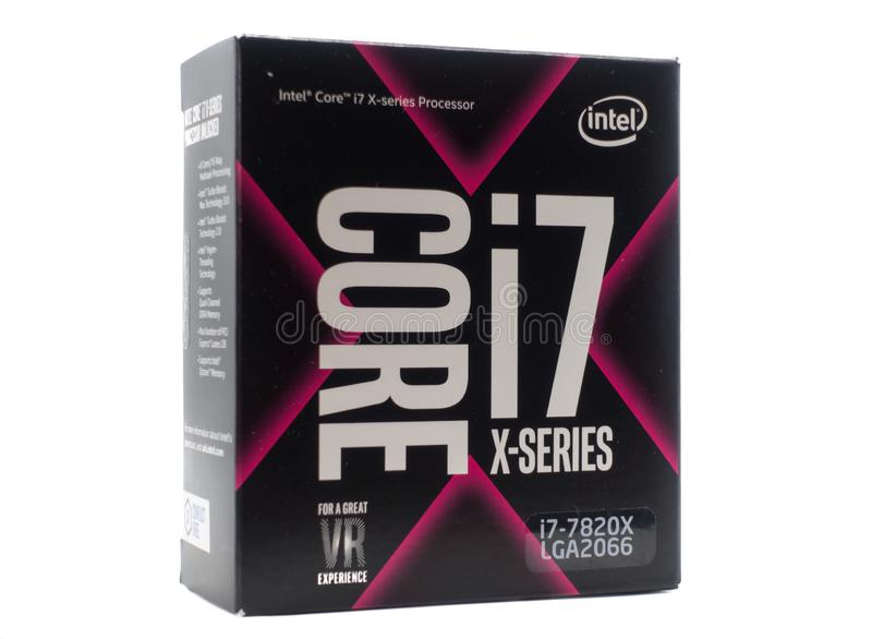 Core I7 Intel processor in the retail box isolated on white background royalty free stock photography