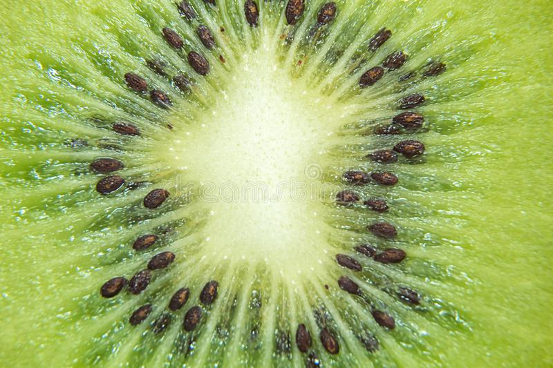 The core is sliced kiwi. Close-up stock photo