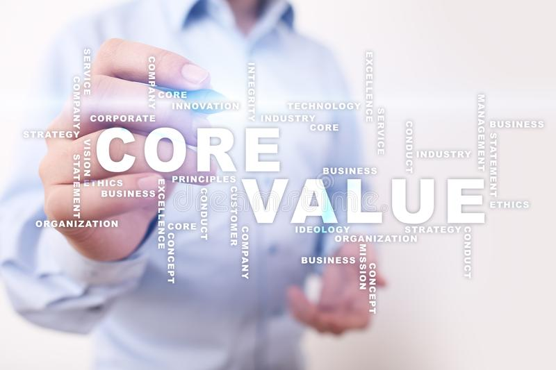 Core value on the virtual screen. Business concept. Words cloud. Core value on the virtual screen. Business concept. Words cloud royalty free stock images