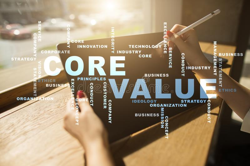 Core value on the virtual screen. Business concept. Words cloud. Core value on the virtual screen. Business concept. Words cloud stock images