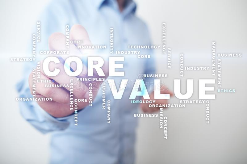 Core value on the virtual screen. Business concept. Words cloud. Core value on the virtual screen. Business concept. Words cloud royalty free stock photos