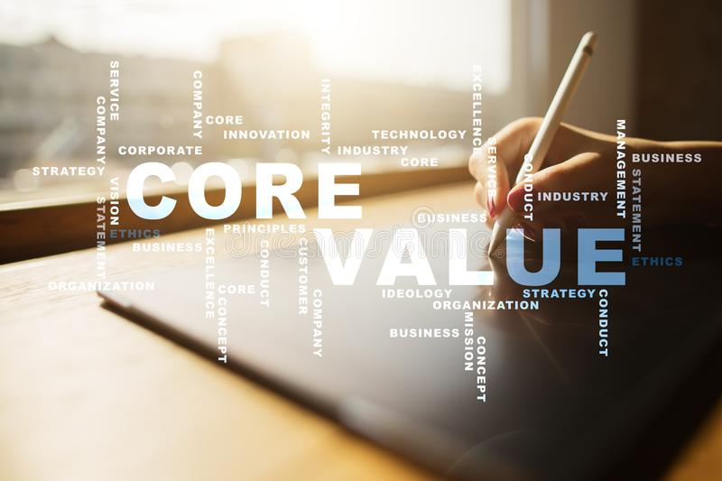 Core value on the virtual screen. Business concept. Words cloud. stock photo