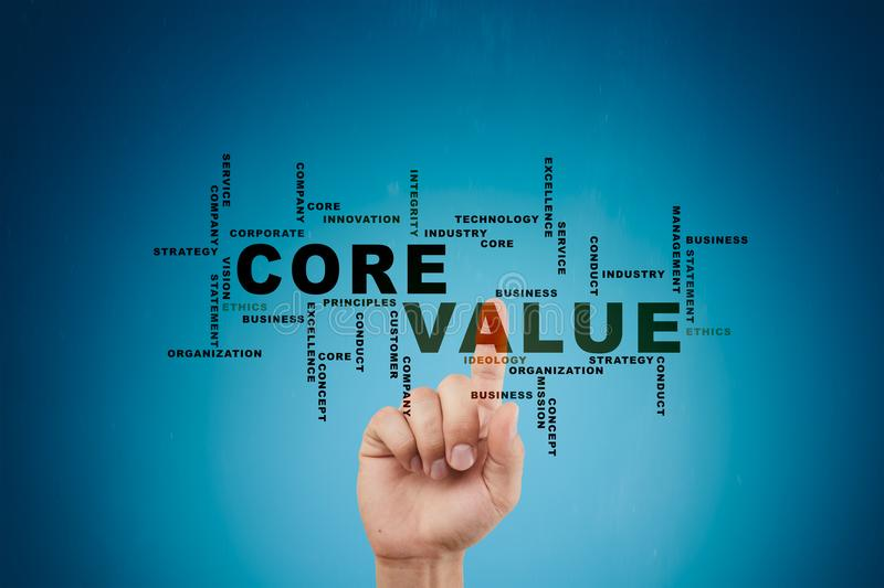 Core value on the virtual screen. Business concept. Words cloud. Core value on the virtual screen. Business concept. Words cloud stock photography
