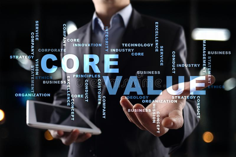 Core value on the virtual screen. Business concept. Words cloud. Core value on the virtual screen. Business concept. Words cloud stock photos