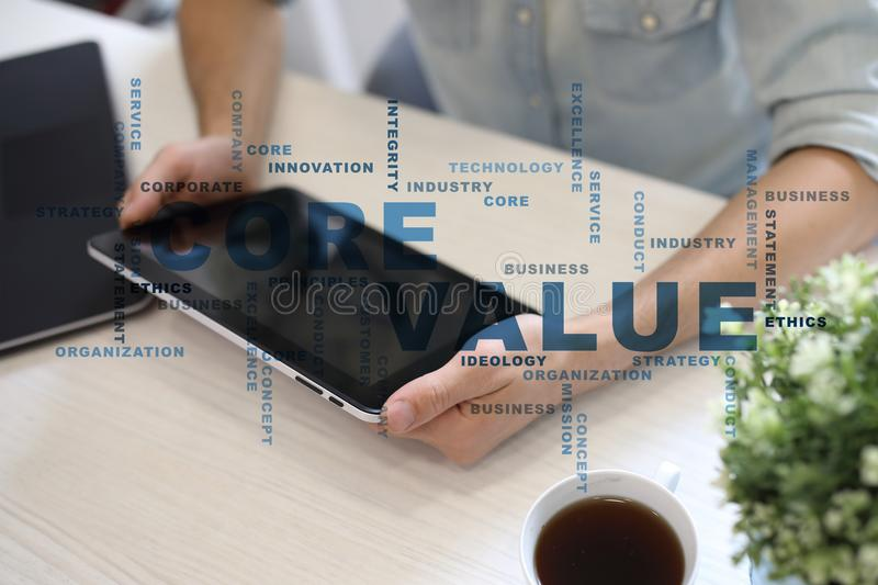 Core value on the virtual screen. Business concept. Words cloud. Core value on the virtual screen. Business concept. Words cloud stock photo