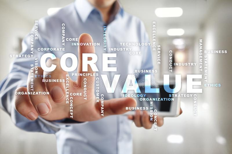 Core value on the virtual screen. Business concept. Words cloud. Core value on the virtual screen. Business concept. Words cloud royalty free stock photography