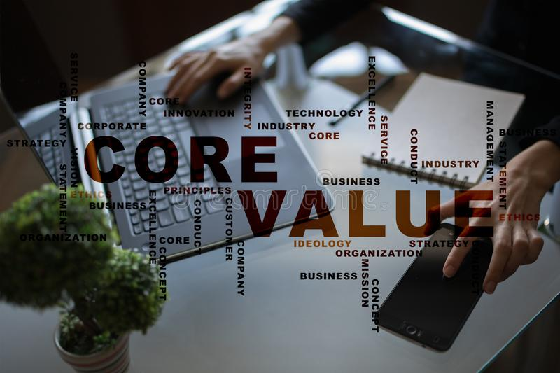 Core value on the virtual screen. Business concept. Words cloud. Core value on the virtual screen. Business concept. Words cloud stock image