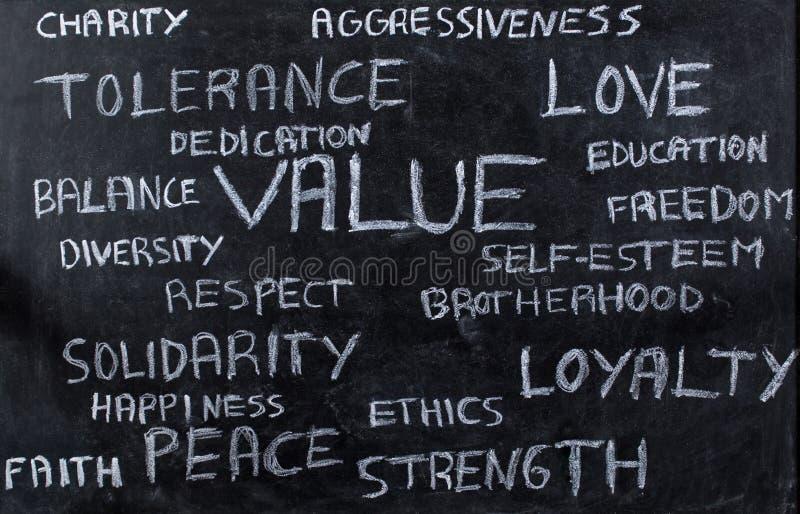 Core values on blackboard royalty free stock photography