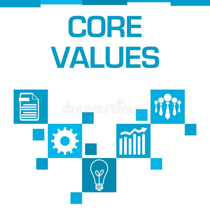 Core Values Blue Squares Symbols. Core values text written over blue background royalty free illustration