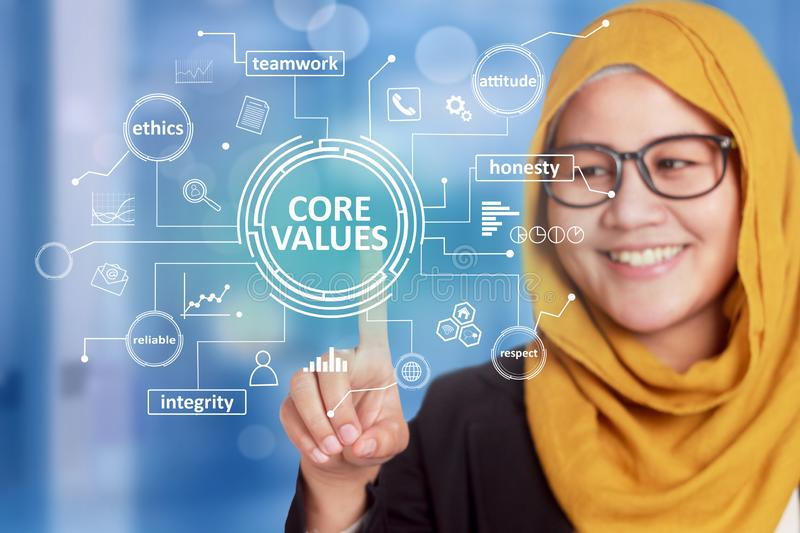 Core Values, business ethics motivational inspirational quotes, words typography concept. Asian muslim businesswoman smiling stock image