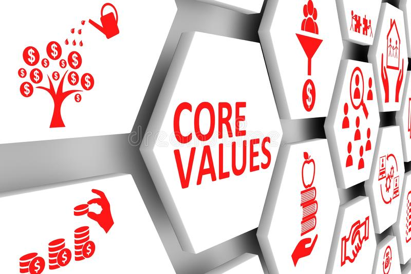 CORE VALUES concept cell background royalty free illustration