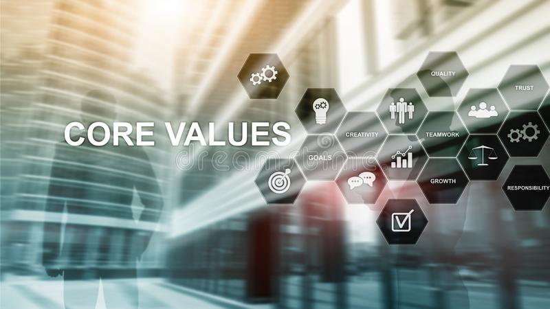 Core values concept on virtual screen. Business and finance solutions royalty free stock image