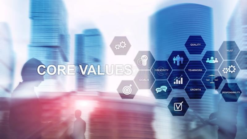 Core values concept on virtual screen. Business and finance solutions. stock images