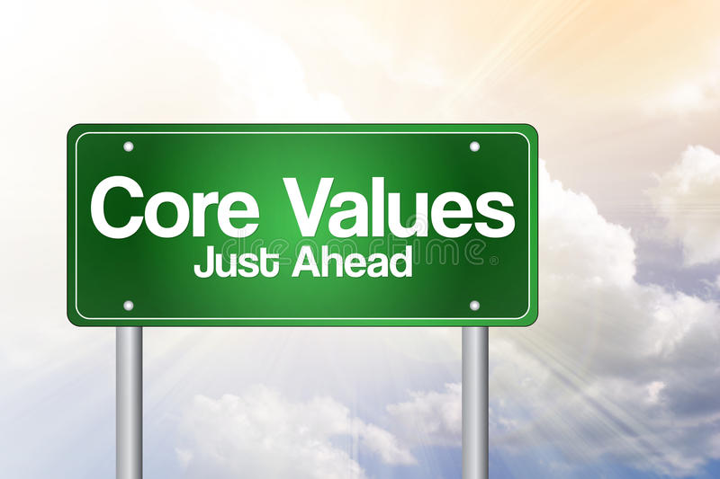 Core Values Just Ahead Green Road Sign, business concept stock illustration