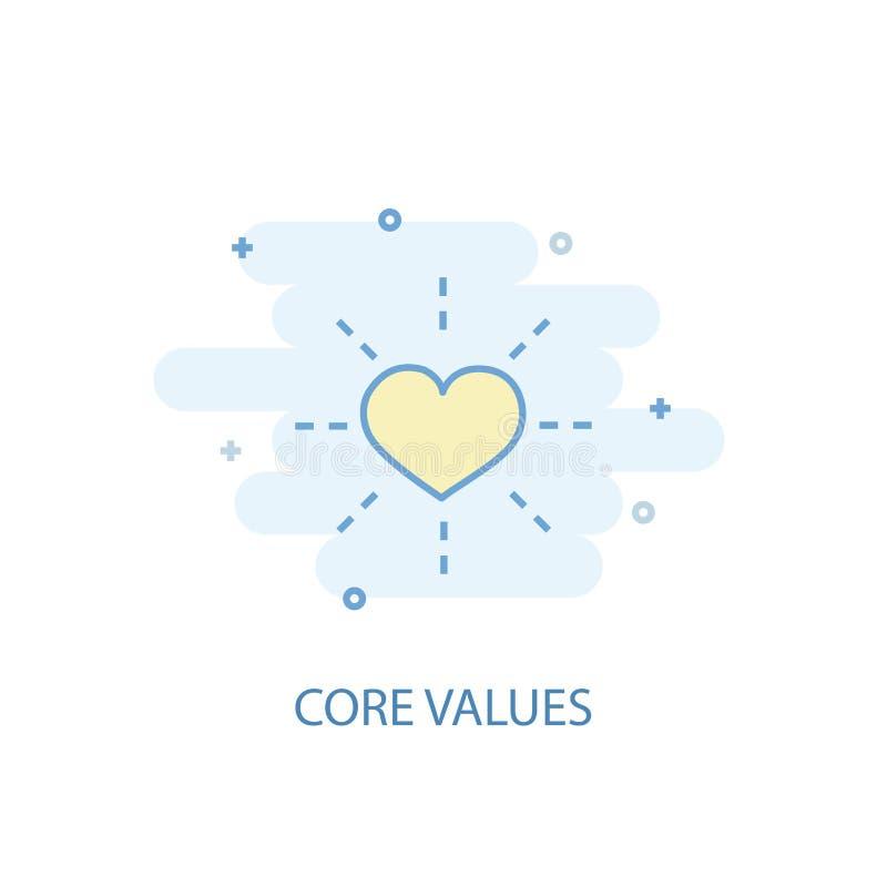 Core values line concept. Simple line. Icon, colored illustration. Core values symbol flat design stock illustration