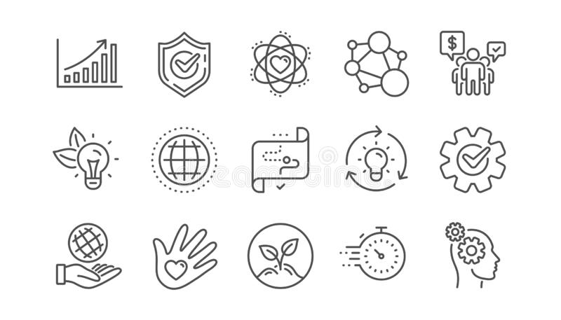 Core values line icons. Integrity, Target purpose and Strategy. Helping hand, goal. Linear set. Vector royalty free illustration