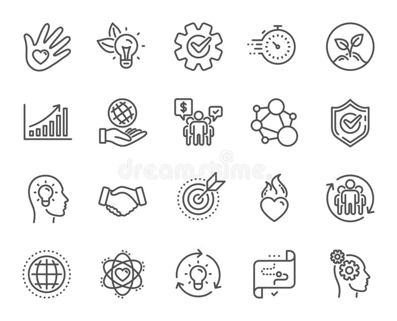 Core values line icons. Integrity, Target purpose and Strategy. Trust handshake, goal. Vector. Core values line icons. Integrity, Target purpose and Strategy stock illustration