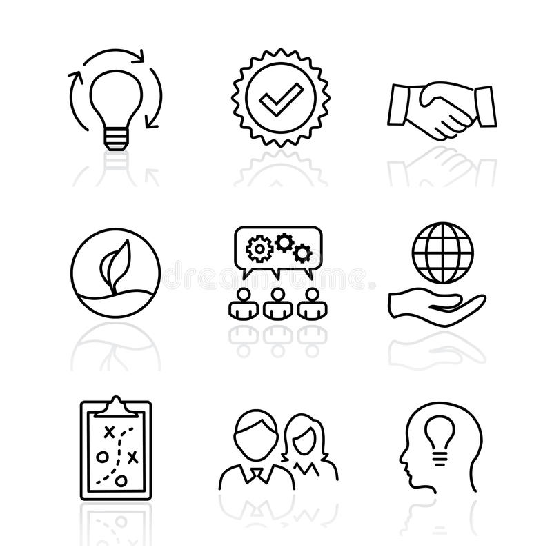 Core Values - Mission, integrity value icon set with vision, hon vector illustration