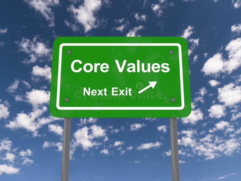 Core values next exit stock illustration