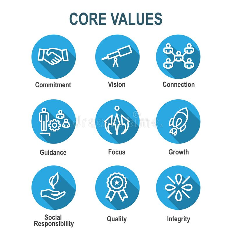 Core Values Outline or Line Icon Conveying Integrity & Purpose. Core Values Outline or Line Icon Conveying Integrity stock illustration