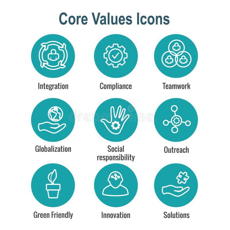 Core Values Outline or Line Icon Conveying Integrity & Purpose.  vector illustration