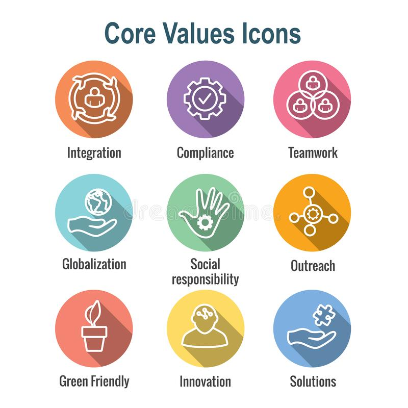 Core Values Outline / Line Icon Conveying Integrity - Purpose. Core Values Outline or Line Icon Conveying Integrity & Purpose vector illustration