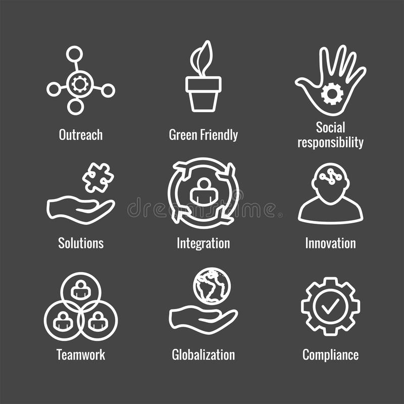 Core Values Outline / Line Icon Conveying Integrity - Purpose. Core Values Outline or Line Icon Conveying Integrity & Purpose stock illustration