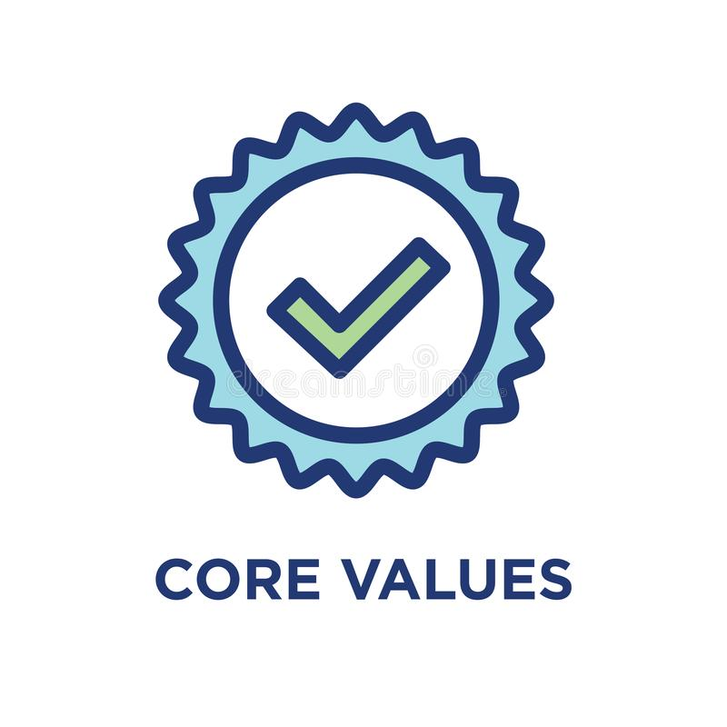 Core Values Outline / Line Icon Conveying a Specific Purpose. Core Values Outline - Line Icon Conveying Specific Purpose vector illustration