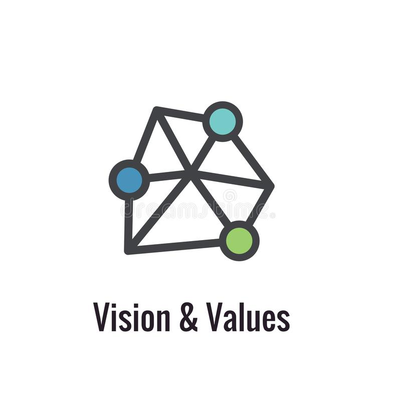 Core Values Outline or Line Icon Conveying Vision and Purpose. Core Values Outline or Line Icon Conveying Vision & Purpose royalty free illustration
