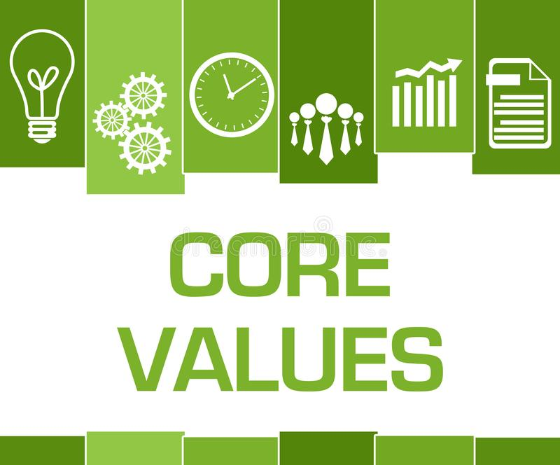 Core Values Green Stripes Symbols. Core values text written over green background stock illustration