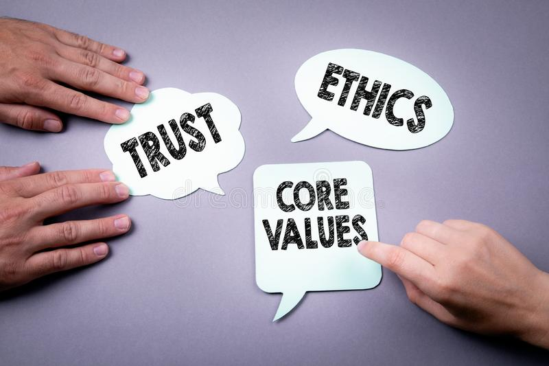 Core values, trust and ethics concept. Speech bubble on a gray background stock photos