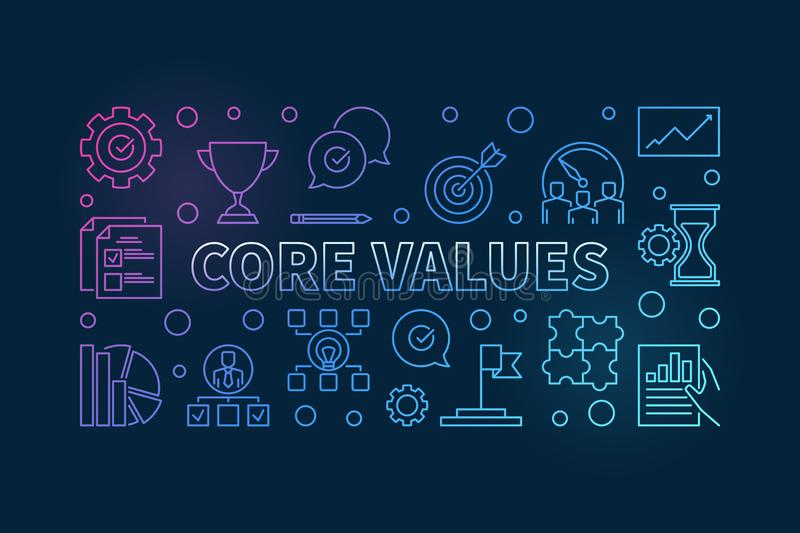 Core Values vector horizontal colorful outline illustration stock illustration