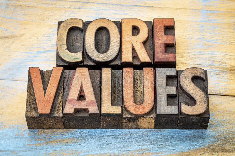 Core values in vintage letterpress wood type. Core values word abstrtact - text in vintage letterpress wood type blocks stained by color inks against grunge wood stock photo