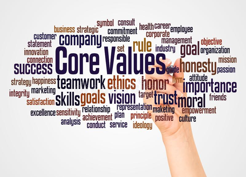 Core values word cloud and hand with marker concept. On white background stock illustration