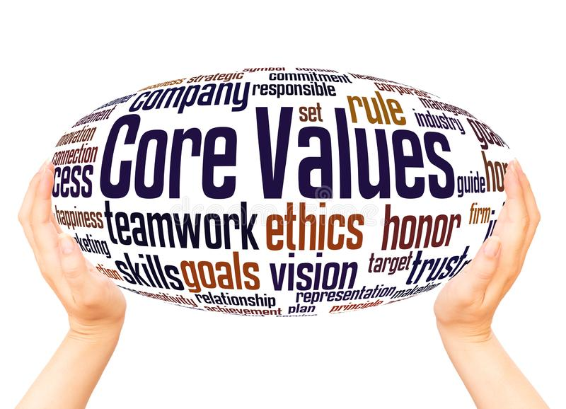 Core values word cloud hand sphere concept. On white background vector illustration