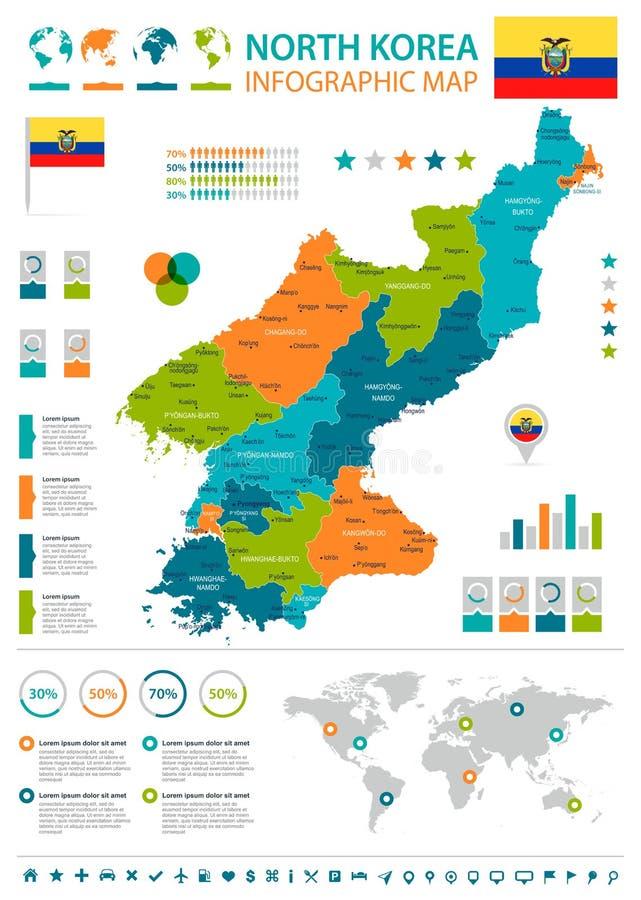 Corea del Norte - mapa y bandera infographic - ejemplo detallado del vector stock de ilustración