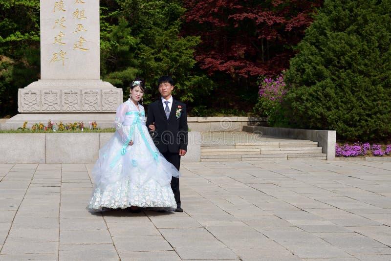 Corea del Norte newlyweds fotografía de archivo libre de regalías
