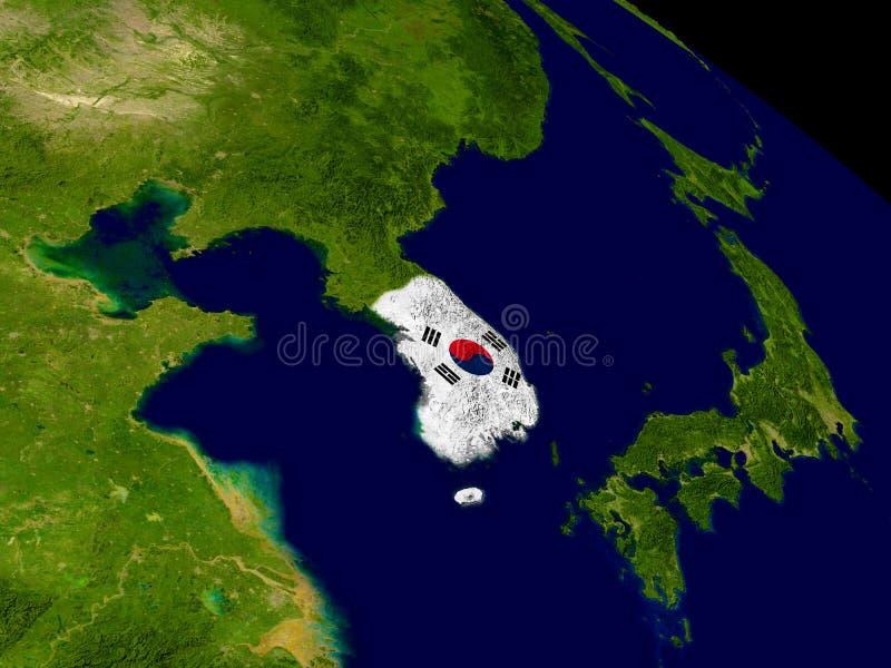 Corea del Sur con la bandera en la tierra stock de ilustración
