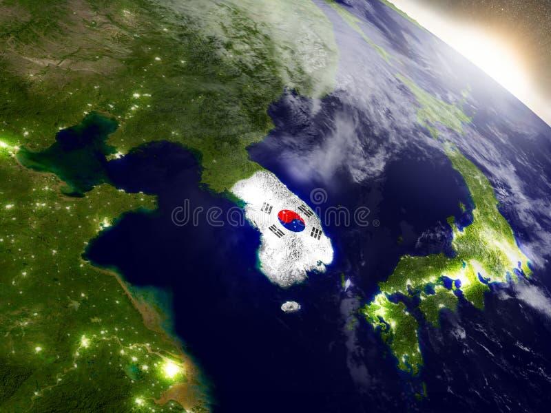 Corea del Sur con la bandera en sol naciente stock de ilustración