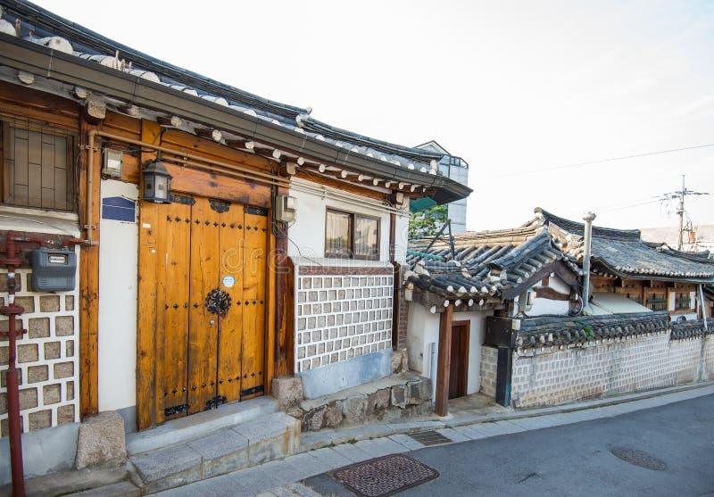 Corea del Sur en el distrito histórico de Bukchon Hanok imágenes de archivo libres de regalías
