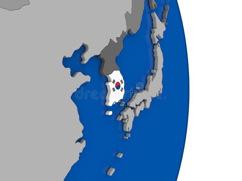 Corea del Sur en el globo con la bandera ilustración del vector