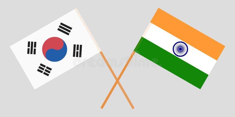 Corea del Sur y la India Banderas coreanas e indias Colores oficiales Proporción correcta Vector stock de ilustración