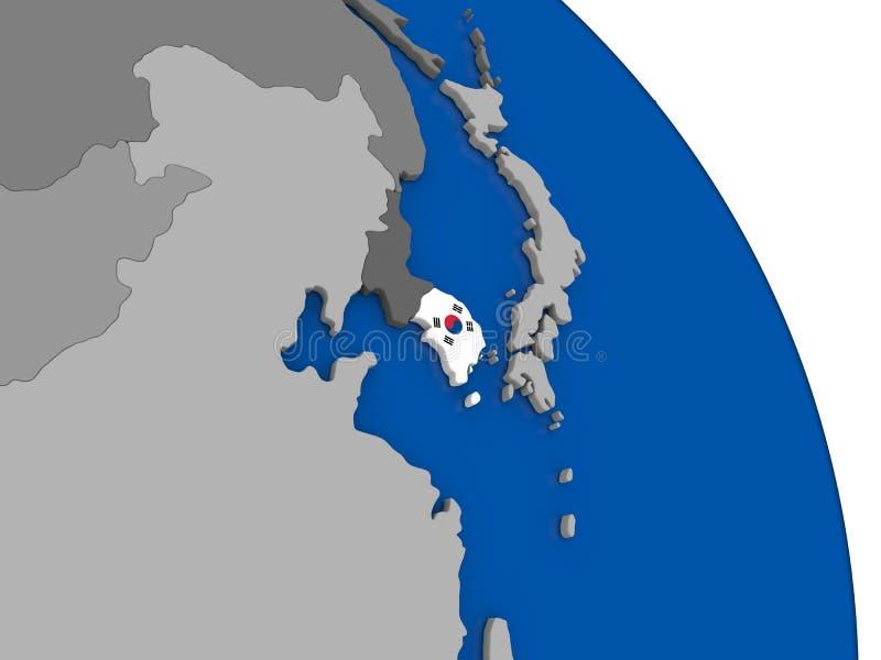 Corea del Sur y su bandera en el globo libre illustration
