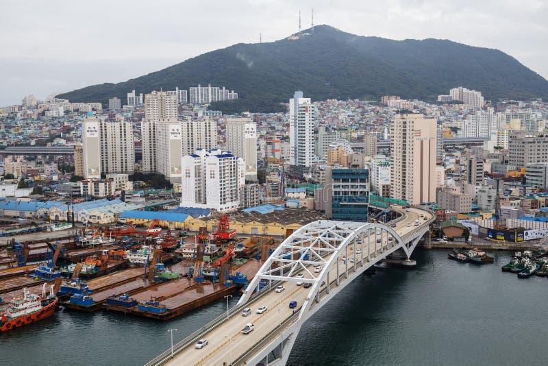 Corea en el 18 de septiembre de 2016: Opinión de la ciudad metropolitana de Busán alta imagen de archivo