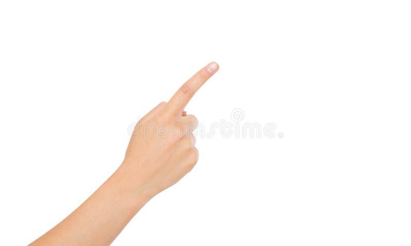 Coreano, fondo bianco isolato punto asiatico del dito Mano della donna fotografia stock